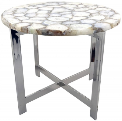 Argento White Stainless Steel End Table