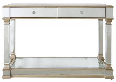 Arlo Champagne Mirrored 2 Drawer Console Table