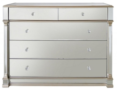 Arlo Champagne Mirrored 5 Chest of Drawer