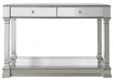 Arlo Silver Mirrored 2 Drawer Console Table