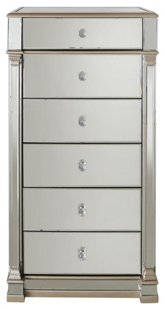 Arlo Champagne Mirrored 6 Chest of Drawer