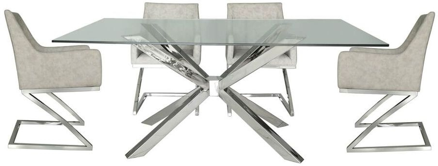 Aston Glass 180cm Rectangular Dining Set with 4 Light Grey Faux Leather Chairs