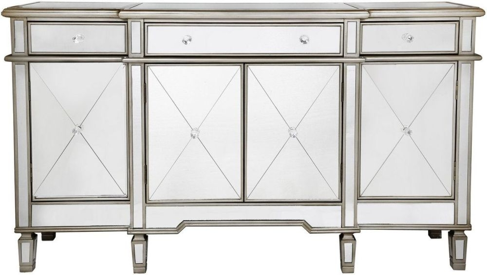 Bari Gold Trim Mirrored Sideboard