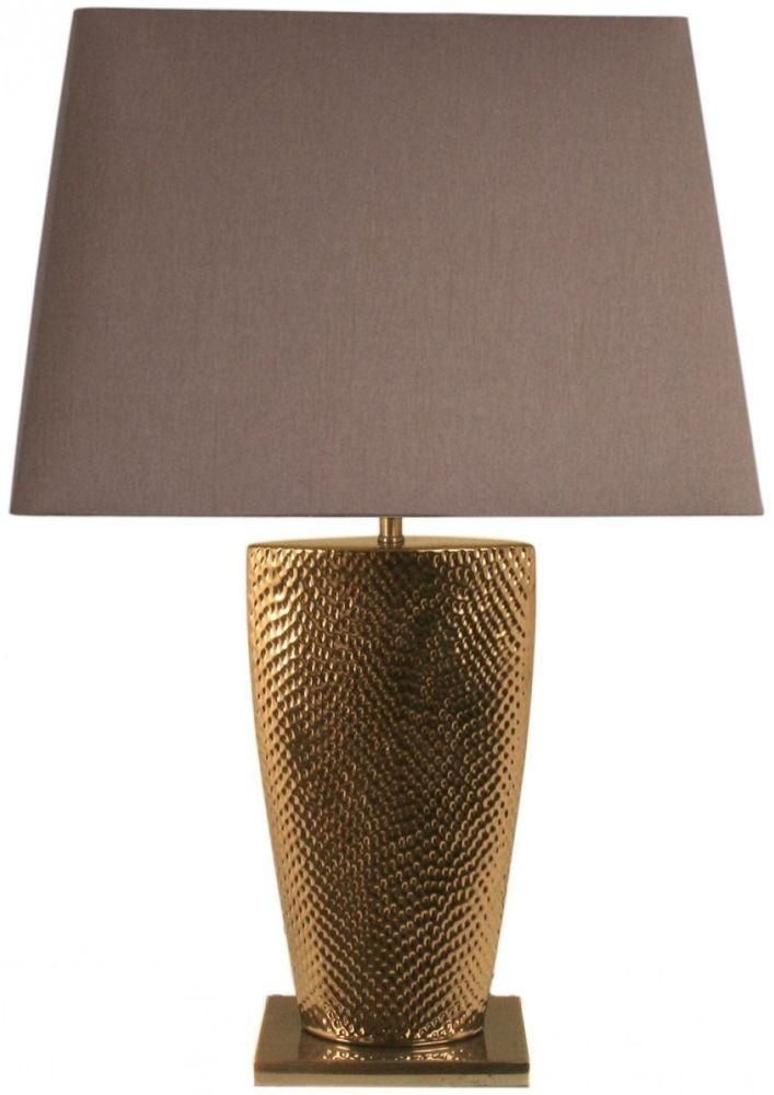 Barsaw Gold Table Lamp With 15inch Chocolate Shade