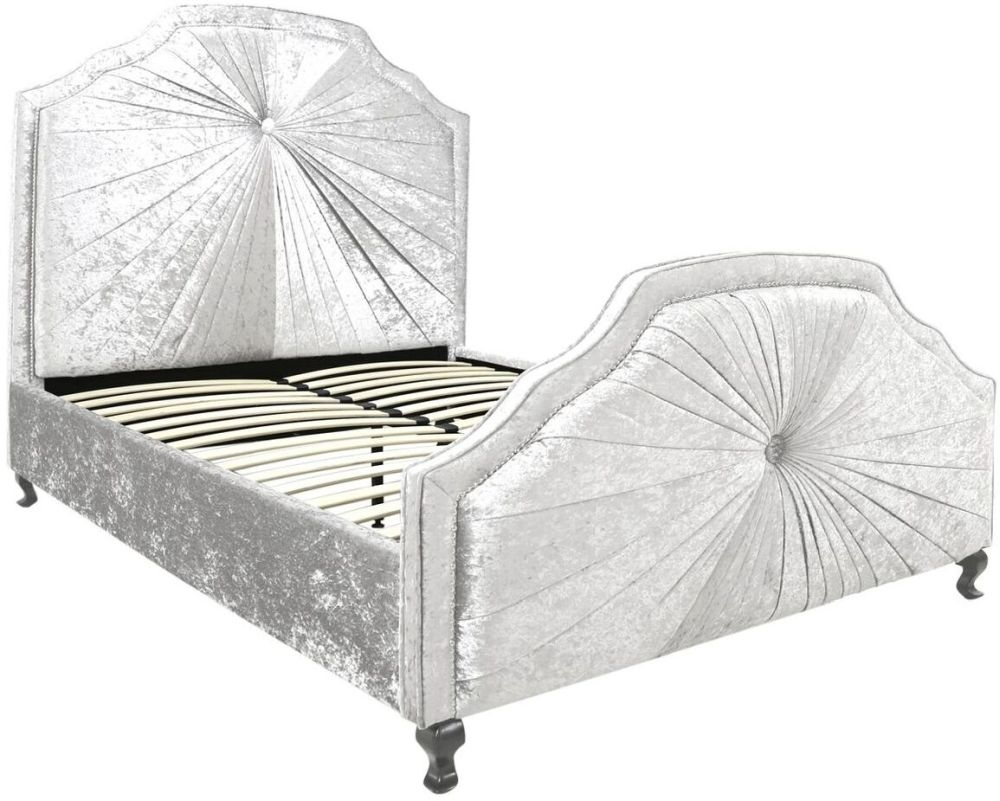 Ancora White Velvet 5ft Bed Frame thumbnail