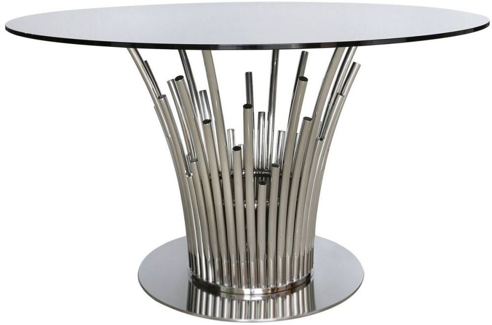 Burgio Polished Steel Metal and Glass Round Dining Table - 135cm