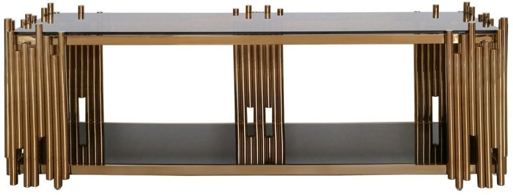 Burgio Rose Gold Metal and Glass Entertainment Unit