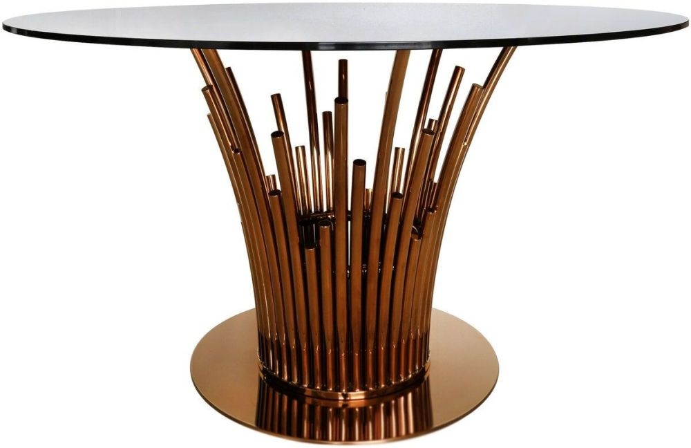 Burgio Rose Gold Metal and Glass Round Dining Table - 135cm