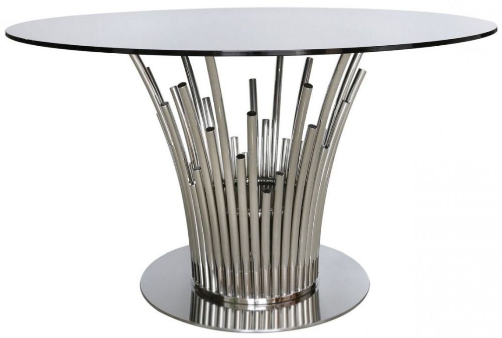 Burgio Polished Steel Metal and Glass Dining Table