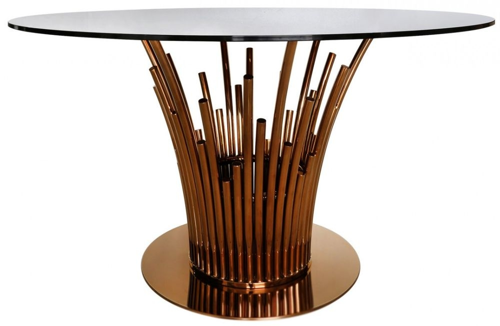 Burgio Rose Gold Metal and Glass Dining Table