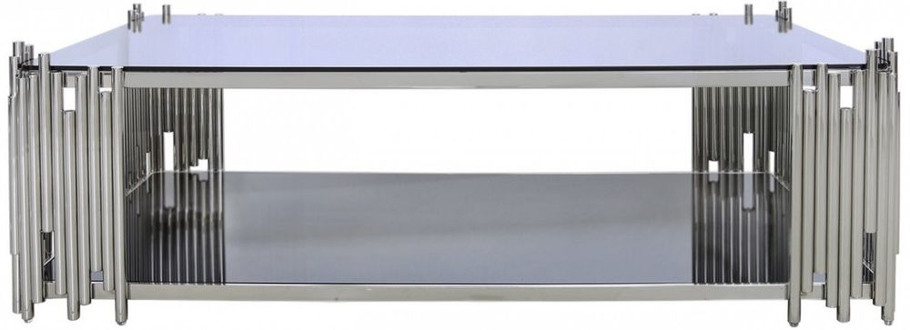 Burgio Polished Steel Metal and Glass Coffee Table - Rectangular