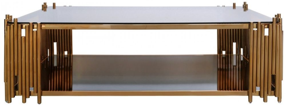 Burgio Rose Gold Metal and Glass Rectangular Coffee Table