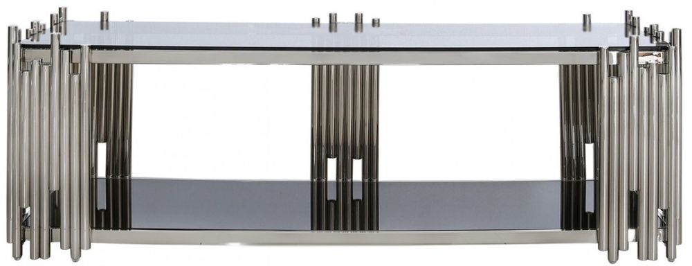 Burgio Polished Steel Metal and Glass Entertainment Unit