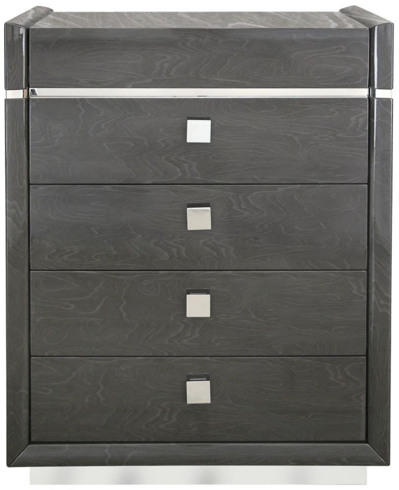 Caria Dark Grey Walnut 5 Drawer Chest