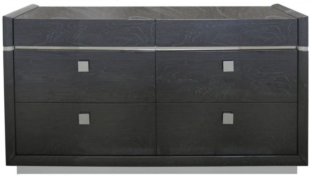 Caria Dark Grey Walnut 6 Drawer Chest