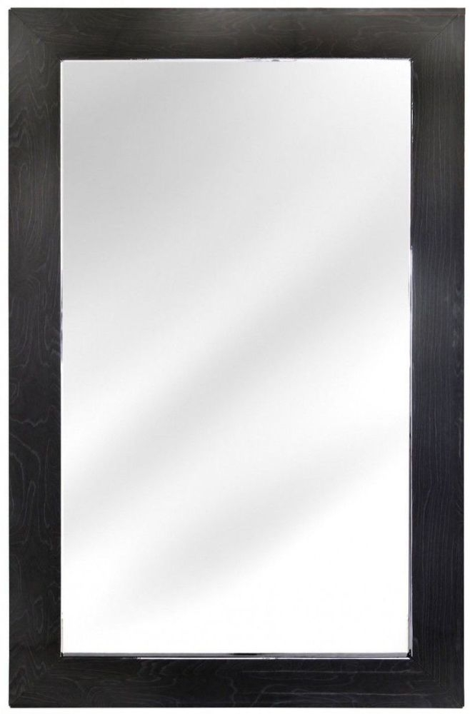 Caria Dark Grey Walnut Rectangular Wall Mirror - 90cm x 138cm