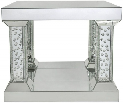 Castro Mirrored End Table with 4 Pillar