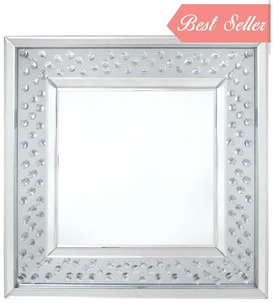 Castro Floating Crystal Black Trim Wall Mirror - Square