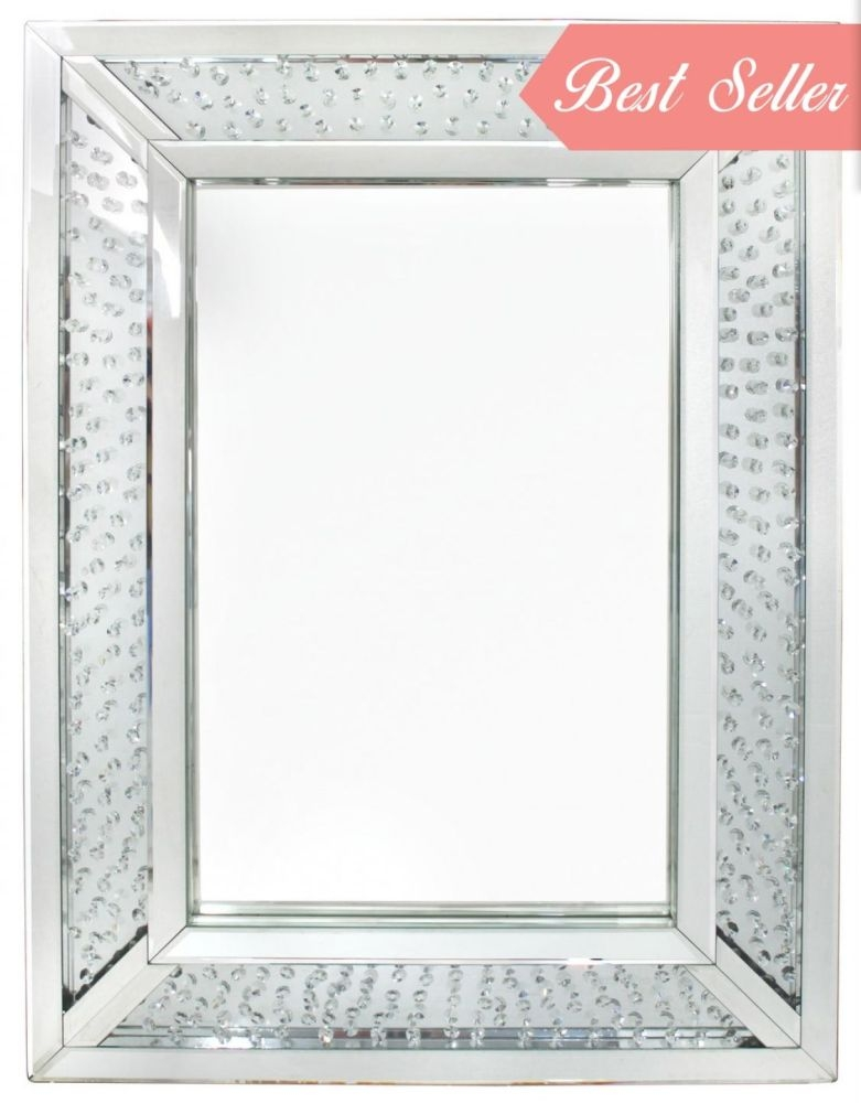 Castro Floating Crystal Wall Mirror - Rectangular