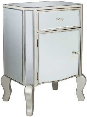 Mirrored Chest of Drawer with Champagne Trim - 1 Drawer