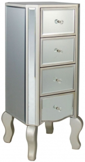 Mirrored Chest of Drawer with Champagne Trim - 4 Drawer