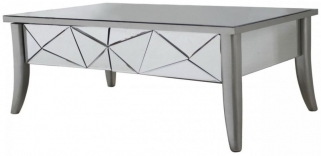 Mirrored Glacier Coffee Table with Champagne Trim