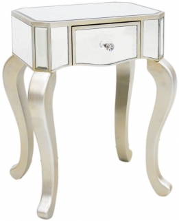 Mirrored Lamp Table with Champagne Trim - Small