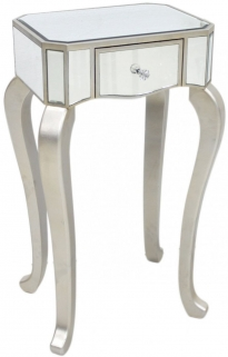 Mirrored Lamp Table with Champagne Trim