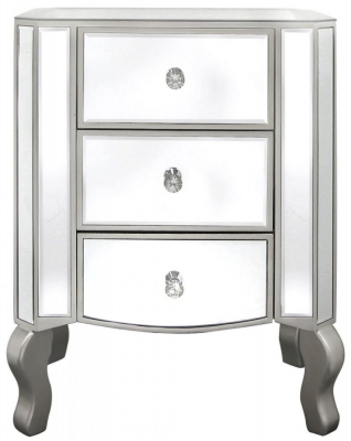 Mirrored 3 Drawer Bedside Cabinet Champagne Trim