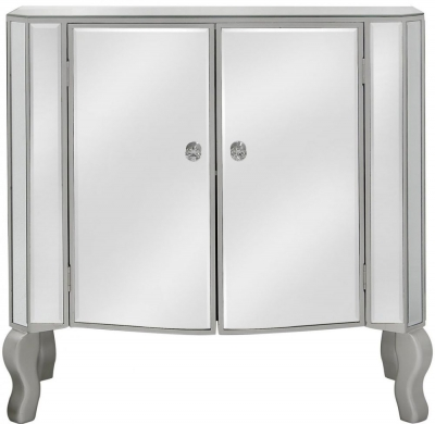 Mirrored 2 Door Side Cabinet with Champagne Trim And NEW Crystal Handles