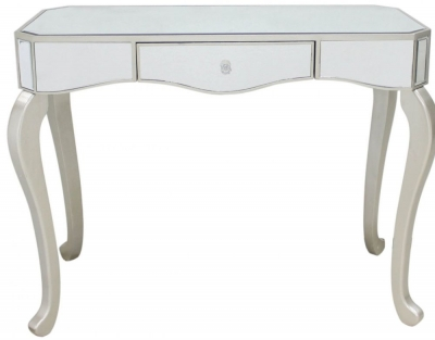 Mirrored Console Table with Champagne Trim