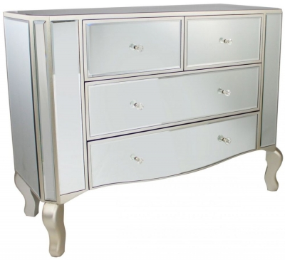 Mirrored 4 Drawer Unit with Champagne Trim