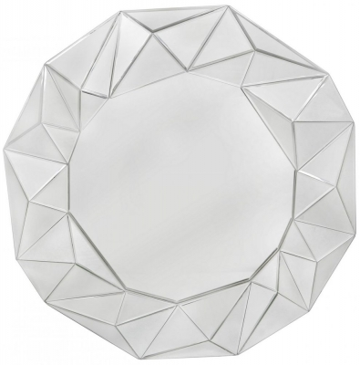 Mirrored Glacier 100cm Wall Mirror Silver Trim