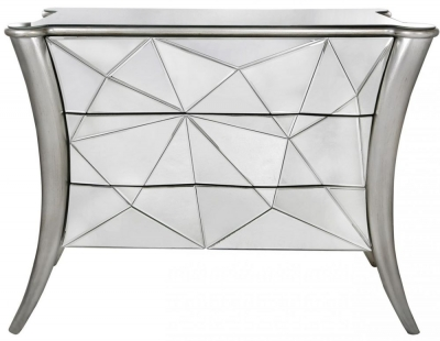 Mirrored Glacier 3 Drawer Cabinet Silver Trim