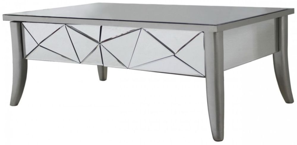 Mirrored Gilbert Coffee Table with Champagne Trim