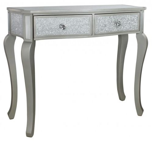 Bradford Silver Console Table with Champagne Trim
