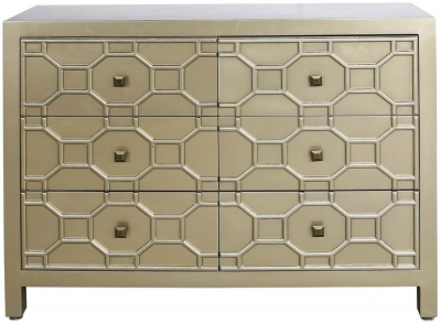 Clearance - Rosaro Gold 6 Drawer Chest - New - E-17