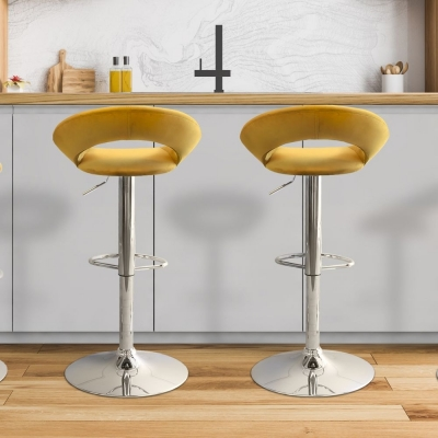 Clearance - Stockton Mustard Faux Leather and Chrome Barstool (Pair) - New - FSS9059