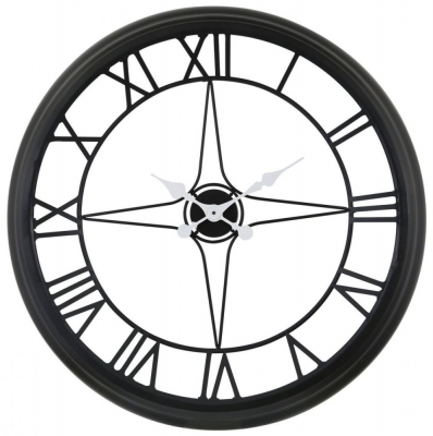 Skeleton Large Black & White Compass Style Wall Clock