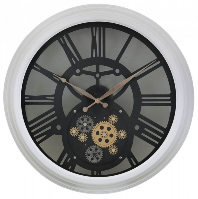 Skeleton Large White Gears Style Wall Clock