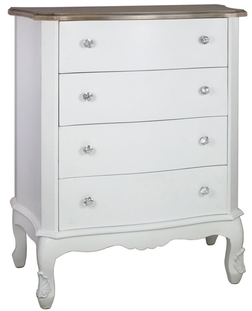 White Country Cottage 4 Drawer Cabinet