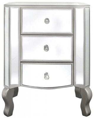 Clearance Champagne Trim Mirrored 3 Drawer Bedside Cabinet