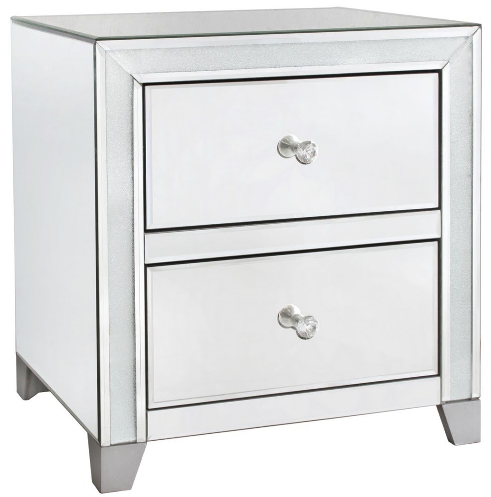 Frosted Diamond Crush Mirrored 2 Drawer Cabinet