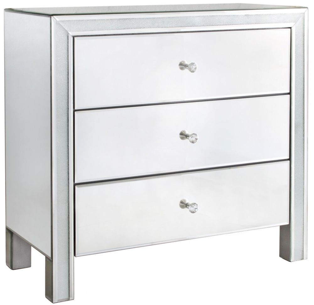 Frosted Diamond Crush Mirrored 3 Drawer Cabinet