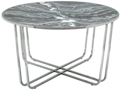 Lottie Grey Glossy Round Coffee Table - Marble Effect and Chrome