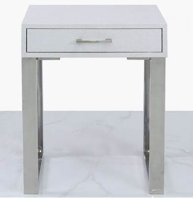 Enna Silver Faux Stingray Leather End Table