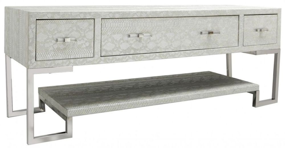 Enna Antique Faux Snakeskin Entertainment Unit - 3 Drawer