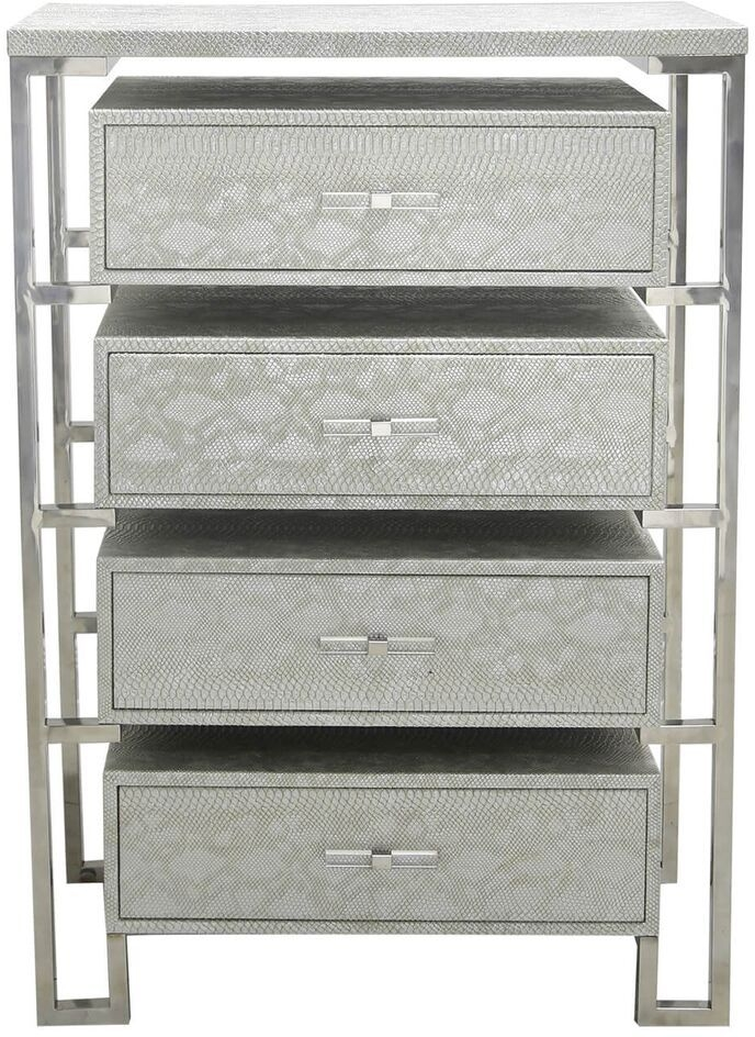 Enna Silver Faux Snakeskin 4 Drawer Cabinet