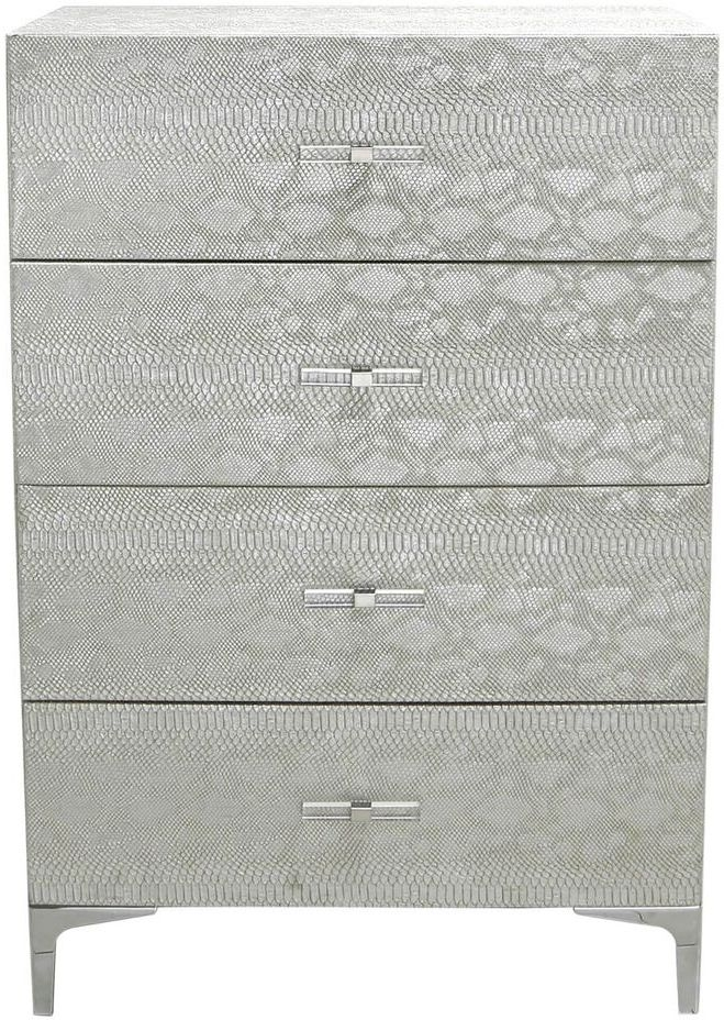 Enna Silver Faux Snakeskin 4 Drawer Chest