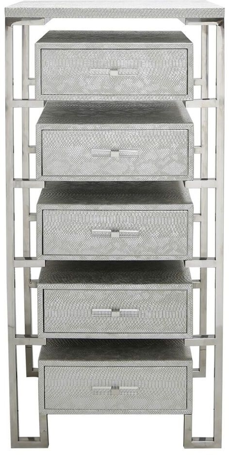 Enna Silver Faux Snakeskin 5 Drawer Cabinet